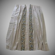 Vintage Linen and Crewel Edged Curtains Drapes 4 Panels