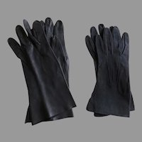 2 x Vintage Gloves Blue Suede Black Kid Capretto Italy