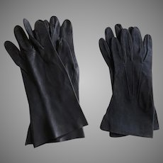 2 x Vintage Gloves Blue Suede Black Kid Capretto Italy