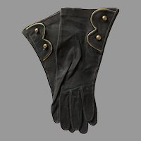 Pair of Vintage Black Suede Gloves with Gold Buttons and Trim Made in France
