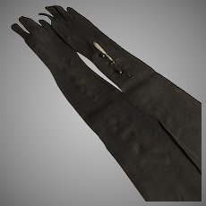 Pair of Long Black Suede Vintage Gloves with Button Closure Made in France Un-worn