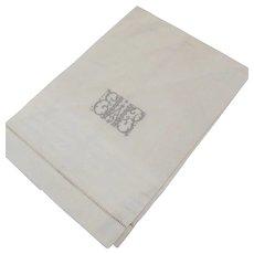 Vintge Linen Fabulous Embroidery Monogram Tea Towel Hand