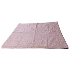 "Vintage Satin Bed Coverlet Quilt Pink Full Twin 75"" by 64"""