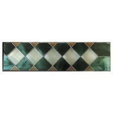 Large Stained Glass Teal and Clear Transom with a Rhombus Pattern Textured