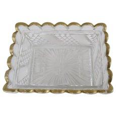 19th Century Baccarat Pressed Glass Scalloped Edge Dish