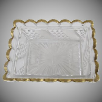 19th Century Baccarat Pressed Glass Scalloped Edge Dish