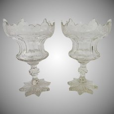 Tall Pair 19th Century Cut and Etched Compotes