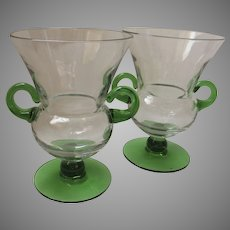 Pair of Vintage Urn Shaped Vases Green Glass Handles and Foot
