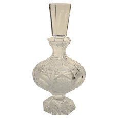 Vintage Cut Glass Perfume Bottle with Stopper