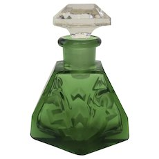b8b9598fcb14 Vintage Green Glass Perfume Bottle with Clear Stopper