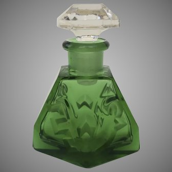 Vintage Green Glass Perfume Bottle with Clear Stopper
