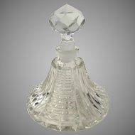 Vintage Pressed Clear Glass Perfume Bottle & Stopper