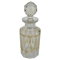19th Century Czech Cut Glass with Gilt Perfume Bottle Decanter
