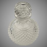 Vintage Pressed Glass Perfume Bottle & Stopper for Parts