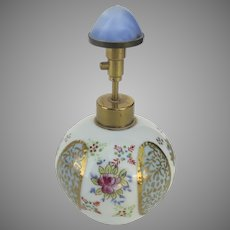 Vintage Hand-Painted Porcelain Irice Perfume Bottle Atomizer