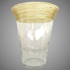 Steuben or H.C. Fry Controlled Bubble Applied Gold Threaded Art Glass Vase