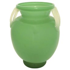 Steuben Green Jade and Alabaster Glass Vase by Frederick Carder with M-Shaped Handles