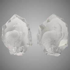 Pair (2) Eagle Crystal Sweden Paperweight Bookends by Mats Jonasson