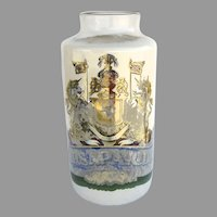 English Very Large 19th Century Painted Glass Apothecary Jar with Coat of Arms of The Worshipful Society of Apothecaries