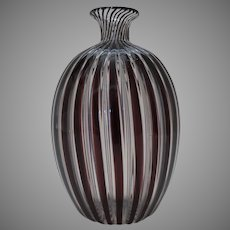 Vintage Italian Italy Hand Blown Red White Stripe Glass Vase