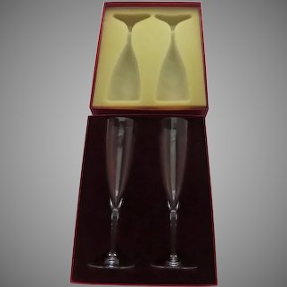 New in Box Vintage Baccarat Champagne Flutes Pair Two Dom Perignon