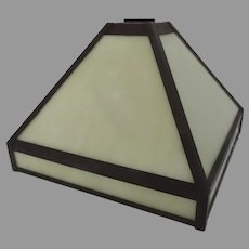 VINTAGE Slag Glass Leaded Lamp Shade Square Peaked Arts Crafts Mission
