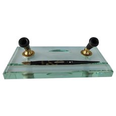 Vintage Stylish Glass Pen Stand with Sheafer Pen