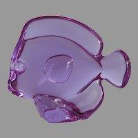 Vintage Baccarat Lucky Fish Figurine Purple