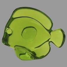 Vintage Baccarat Lucky Fish Figurine Green