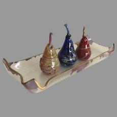 Vintage Hand Blown Pears on Tray by Deborah Carlson
