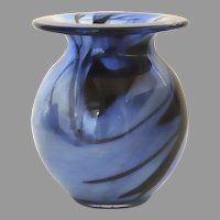 Vintage Eirian Swirl Blue Glass Vase Made in Wales