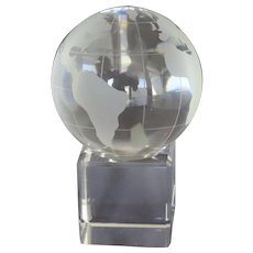 Vintage Two Part Etched Glass Globe on Square Base