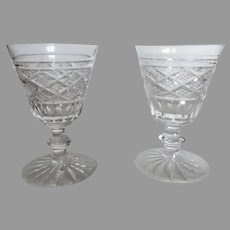 Two Vintage Older 2 x Waterford Port Wine Sherry Cordial Liquor Cut Crystal Glasses