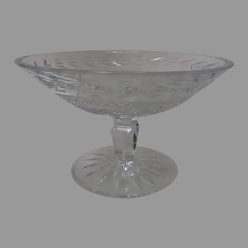 Signed Waterford Stunning  Glandore Cut Crystal Compote Candy Footed Pedestal Bowl