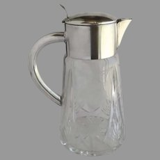 Vintage Cut Glass Silver Plated Lid Carafe Decanter Pitcher