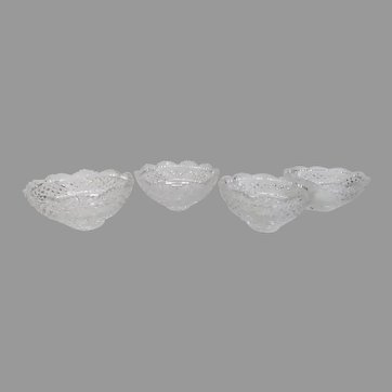 """Set of Four (4) Vintage Crystal Replacement Epergne Glass Bowls 5"""""""
