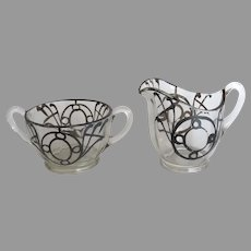 Pair of Vintage Glass with Silver Overlay Sugar and Creamer
