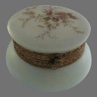 Late 1800's Glass Dresser Box Floral Monroe Satin Glass