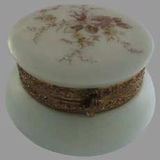 Late 1800's Glass Dresser Box Floral Monroe Satin Glass