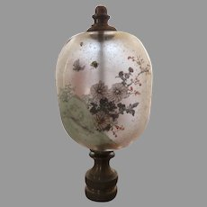Large Vintage Reverse Painted Lamp Finial Asian Theme