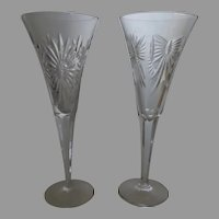 Two Waterford Champagne Flutes 1 Artist Signed by Master Engraver Anthony Roche 2001 , 1 Millennium  Series Pattern Health