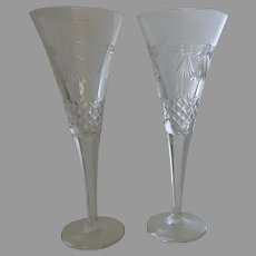 """2 x Waterford Millennium Champagne Flutes """"Peace"""""""