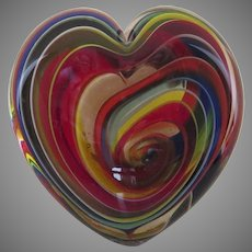 Vintage Hand Blown Italian Glass Paperweight Heart