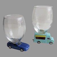 2 x Vintage Majorette Die Cast Cars Wine Drinking Glasses Ice Cream Truck Aston Martin