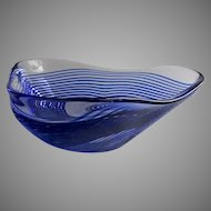 Vintage Art Glass Handblown Swirl Dish by  Bettina Foothorap Signed