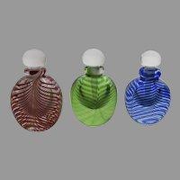 Group of Three Art Glass Handblown Perfume Bottles Swirl Pattern by Bettina Foothorap Signed