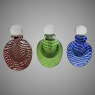 Group of Three Art Glass Handblown Perfume Bottles Swirl Pattern by Bettina Foothorap Signed