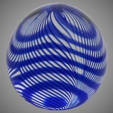 Vintage Signed Dated Paperweight Blue Swirl by Bettina Foothorap