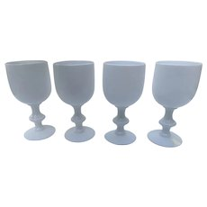 """Vintage Set of 4 PORTIEUX VALLERYSTHAL French White Goblets Glasses 6 1/2"""" Tall PV"""