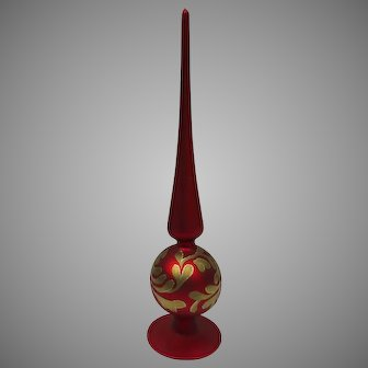 """Vintage Large Christmas Ornament Tree Topper Metropolitan Museum of Art Gold Red 13"""" Tall"""